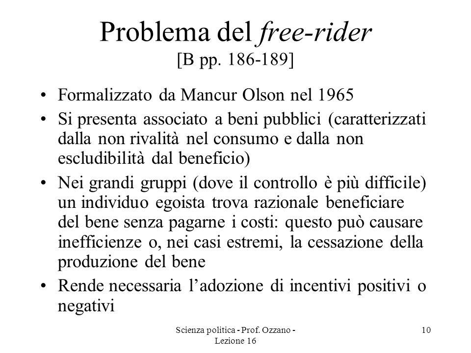 Problema del free-rider [B pp. 186-189]